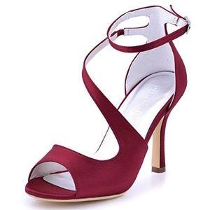 Burgundy Satin Ankle Strap Stiletto Heels Sz 10